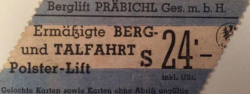 Liftkarte aus den Jahren des Schillings