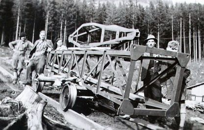 Historisches Foto von 1947, die Stütze 1 im Aufzug